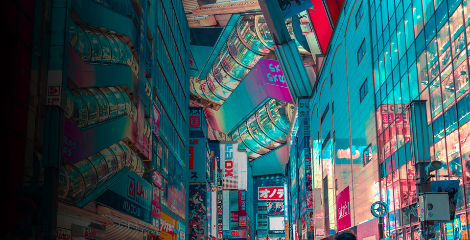 Agency solution hero image featuring Japanese street ads